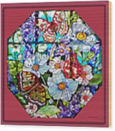 Butterfly Octagon Stained Glass Window Wood Print