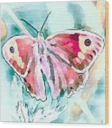Butterfly On Flower 1 Wood Print