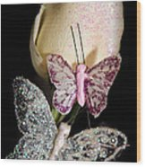 Butterfly Rose Wood Print