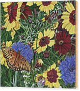 Butterfly Wildflowers Garden Oil Painting Floral Green Blue Orange-2 Wood Print