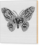 Butterfly With Design Wood Print