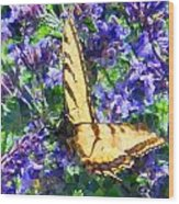 Butterfly With Purple Flowers 3 Wood Print