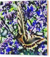 Butterfly With Purple Flowers 4 Wood Print