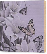 Butterflies In A Field Of Freesias Wood Print