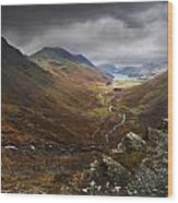 Buttermere Valley Autumn View Wood Print