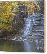 Buttermilk Falls Autumn Wood Print