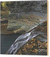Buttermilk Falls In Autumn I Wood Print