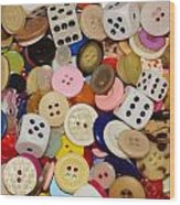 Buttons 676 Wood Print