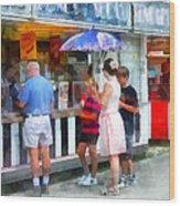 Buying Ice Cream At The Fair Wood Print