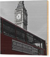 Bw Big Ben And Red London Bus Wood Print