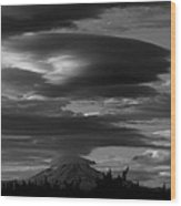 Bw Clouds Over Mt Adams Wood Print