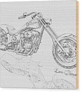 Bw Gator Motorcycle Wood Print