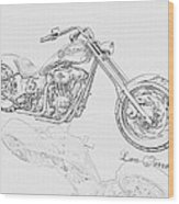 Bw Gator Motorcycle Wood Print by Louis Ferreira