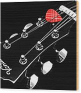 Bw Head Stock With Red Pick  Wood Print
