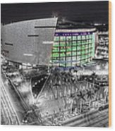 Bw Of American Airline Arena Wood Print