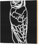 Bw Owl Wood Print by Amy Sorrell