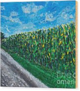 By An Indiana Cornfield The Road Home Wood Print