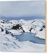 By The Blue Lagoon In Iceland Wood Print