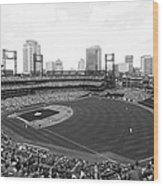 By The Right Field Foul Pole Bw Wood Print