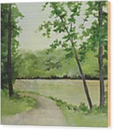By The River Wood Print by Becky West