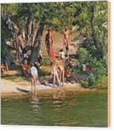 By The River Wood Print