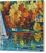 By The Rivershore Wood Print