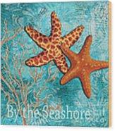 By The Sea Shore Original Coastal Painting Colorful Starfish Art By Megan Duncanson Wood Print by Megan Duncanson