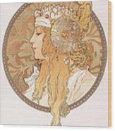 Byzantine Head Of A Blond Maiden Wood Print
