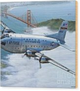 C-124 Shakey Over The Golden Gate Wood Print