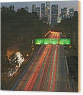 Ca 110 Pasadena Freeway Downtown Los Angeles At Night With Car Lights Streaking_2 Wood Print