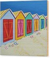 Cabana Row - Colorful Beach Cabanas Wood Print