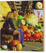 Cabbage Patch Kids - Giant Pumpkins - Marche Atwater Montreal Market Scene Art Carole Spandau Wood Print