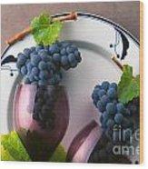 Cabernet Grapes And Wine Glasses Wood Print