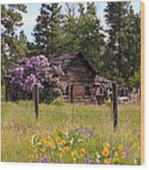 Cabin And Wildflowers Wood Print
