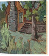 Cabin At Big Bear Lake Wood Print