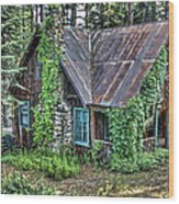 Cabin At Cooks Station Wood Print