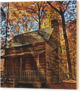 Cabin At The Cove Wood Print