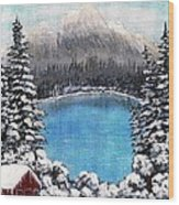 Cabin By The Lake - Winter Wood Print by Barbara Griffin