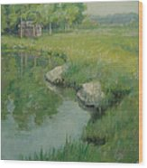 Cabin By The Pond Wood Print