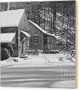 Cabin Fever In Black And White Wood Print