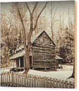 Cabin In Cades Cove Wood Print