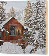 Cabin In Snow Wood Print