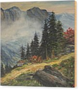 Cabin In The Alps Wood Print