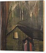 Cabin In The Forest Wood Print