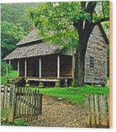 Cabin In The Mountains Wood Print