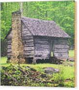 Cabin In The Smokies Wood Print