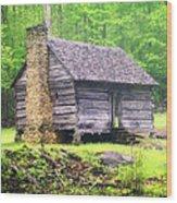 Cabin In The Smokies Wood Print by Marty Koch