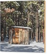 Cabin In The Snow Wood Print
