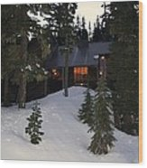 Cabin On The Mountain Wood Print by Angi Parks