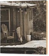 Cabin Porch Wood Print